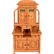 "Antique German Dollhouse Oak Hutch Early 1900s Large 1"" Scale"