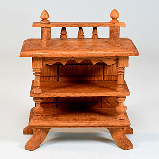 "Antique German Dollhouse Oak Server or Bookshelf Early 1900s Large 1"" Scale"