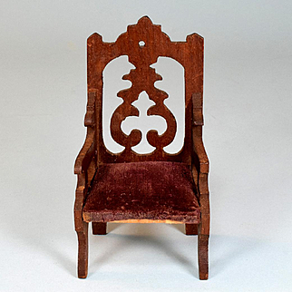 """Antique German Dollhouse Wooden Arm Chair Early 1900s Large 1"""" Scale"""