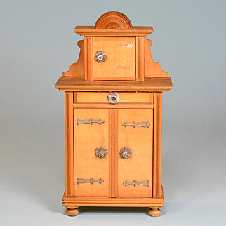 """Antique German Dollhouse Yellow Cherry Hall Cabinet Sideboard Early 1900s 1"""" Scale"""