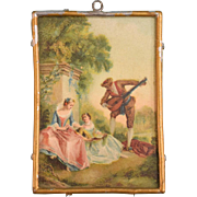 "German Dollhouse Romantic Picture with Gilt Soft Metal Frame 1910s – 1930s 1"" Scale"