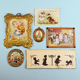 """6 Antique and Vintage Dollhouse Children's Pictures with Ormolu, Cast Metal and Wood Frames 1"""" Scale"""
