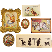 "6 Antique and Vintage Dollhouse Children's Pictures with Ormolu, Cast Metal and Wood Frames 1"" Scale"