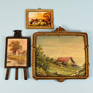 """3 Vintage Dollhouse Landscape Pictures with Metal Frames Large One is Original Oil Painting 1"""" and Large 1"""" Scales"""