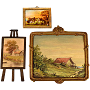 "3 Vintage Dollhouse Landscape Pictures with Metal Frames Large One is Original Oil Painting 1"" and Large 1"" Scales"