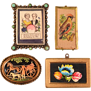 """4 Antique and Vintage Dollhouse Pictures 1"""" Scale"""