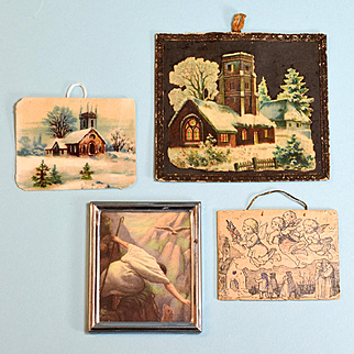 """4 Antique and Vintage Dollhouse Religious Pictures 1"""" Scale"""