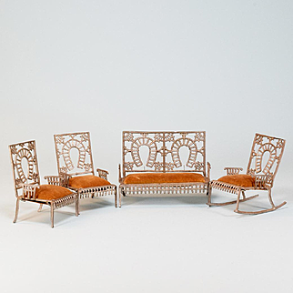 """Set of 4 Soft Metal Antique Dollhouse Fairy Furniture by Adrian Cooke Early 1900s Large 1"""" Scale"""