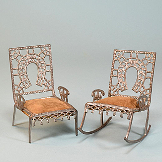 """Set of 2 Antique Dollhouse Soft Metal Fairy Furniture by Adrian Cooke Late 1800s Large 1"""" Scale"""