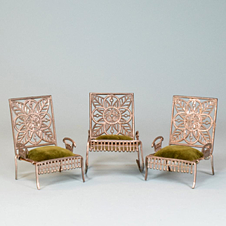 """Set of 3 Antique Dollhouse Soft Metal Furniture by Adrian Cooke Late 1800s Large 1"""" Scale"""