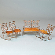 "Set of 4 Antique Dollhouse Furniture by Adrian Cooke Late 1800s Small 1"" Scale"