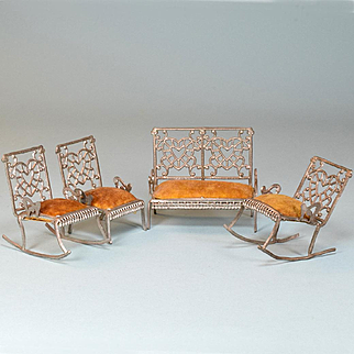 """Set of 4 Antique Dollhouse Furniture by Adrian Cooke Late 1800s Small 1"""" Scale"""