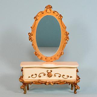 "German Dollhouse Spielwaren Mirrored Dresser by Szalasi 1950s – 1960s Large 1"" Scale"
