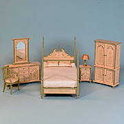 "6 Pc. Hand-Painted Bedroom Suite by Bespaq Early 1990s 1"" Scale"