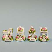 Set of 4 Artisan Staffordshire Style Chalk Ware Houses 1980s