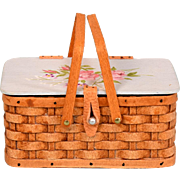 "Signed Hand-Woven Picnic Basket by Al Chandronnait with Hand-Painted Lid by 1988 1"" Scale"