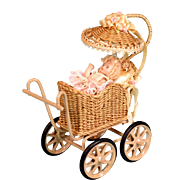 "Signed Wicker Buggy by Marcia Flomer and Bisque Baby by Doris Bradley 1992 3/4"" Scale"