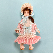 "2 1/2"" Bisque Dollhouse Girl Doll by Doris Bradley Pink Victorian Style Ensemble 1980s 1"" Scale"