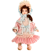 """2 1/2"""" Bisque Dollhouse Girl Doll by Doris Bradley Pink Victorian Style Ensemble 1980s 1"""" Scale"""