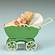 """1 1/2"""" Tall Dollhouse Miniature Toy Baby Carriage with Baby Holding a Tiny Jointed Bisque Teddy Bear 1990s"""