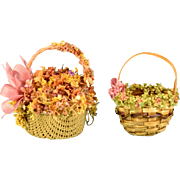 "2 Dollhouse Miniature Wicker Baskets Decorated with Flowers 1980s – 1990s 1"" Scale"