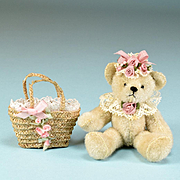 "2 3/4"" Miniature Hand-Sewn Teddy Bear by Pat Williams with Straw Purse by Marcia Flomer Early 1990s"