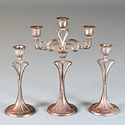 "Antique German Dollhouse Soft Metal 3 Pc. Candelabra Set by Theodore Krause 1920s Large 1"" Scale"