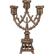 """Antique French Cast Metal Dollhouse 3 Light Candelabra Late 1800s 1"""" Scale"""