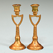 "Pair of Antique Dollhouse Gilt Soft Metal Candlesticks Late 1800s Large 1"" Scale"