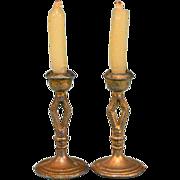 "Pair of Dollhouse Miniature Gilt Soft Metal Candlesticks 1920s – 1930s 1"" Scale"