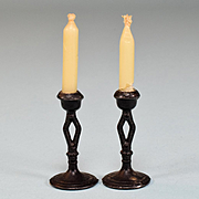 "Pair of Miniature Dollhouse Black Soft Metal Candlesticks 1920s – 1930s 1"" Scale"
