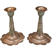 """Pair of Antique Miniature Dollhouse Cast Metal Candleholders Late 1800s Large 1"""" Scale"""