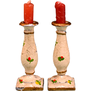"""Pair of Antique Dollhouse Cast Metal Candleholders Hand-Painted Large 1"""" Scale"""