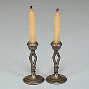 "Pair of Miniature Dollhouse Pewter Soft Metal Candleholders 1920s – 1930s 1"" Scale"