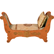 French Antique Miniature Day Bed by Louis Badeuille from Flora Gill Jacobs Museum Late 1800s Fashion Doll Size
