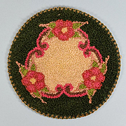 "5"" Round Silk Dollhouse Miniature Hooked Rug Made in Occupied Japan 1940s"