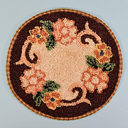 "5"" Silk Round Dollhouse Hooked Rug Made in Occupied Japan 1940s"