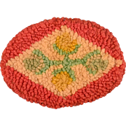 """3"""" x 4"""" Oval Dollhouse Wool Hooked Rug 1920s – 1930s Large 1"""" Scale"""