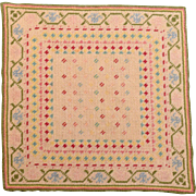 "7 3/4"" Square Vintage Dollhouse Needle Point Rug 1"" Scale"