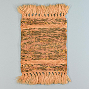 "4 1/4"" x 7 1/2"" Vintage Dollhouse Miniature Rag Rug Hand Woven 1"" Scale"