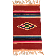 "5 1/2"" x 11""Vintage Wool Navajo Southwestern Style Dollhouse Rug Hand Woven Large 1"" Scale"
