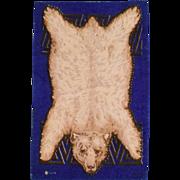 "4 7/8"" x 7 3/4"" Antique Dollhouse Tobacco Felt Polar Bear Animal Print Rug Dark Blue Early 1900s 1"" Scale"