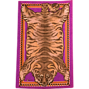 """5"""" x 8"""" Antique Miniature Tobacco Felt Tiger Animal Print Rug Violet Early 1900s 1"""" Scale"""