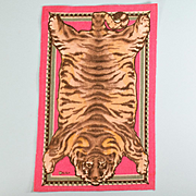 "4 3/4"" x 7 7/8"" Antique Miniature Dollhouse Tobacco Felt Tiger Animal Print Rug Pink Early 1900s 1"" Scale"