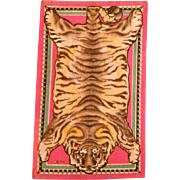 """4 3/4"""" x 7 7/8"""" Antique Miniature Dollhouse Tobacco Felt Tiger Animal Print Rug Pink Early 1900s 1"""" Scale"""