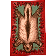 """4 3/4"""" x 7 3/4"""" Antique Miniature Tobacco Felt Wolverine Animal Print Rug Dark Red Early 1900s 1"""" Scale"""