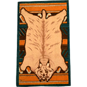 "4 3/4"" x 7 3/4"" Antique Dollhouse Miniature Tobacco Felt Lynx Animal Print Rug Dark Green Early 1900s 1"" Scale"