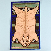"4 5/8"" x 7 3/4"" Antique Dollhouse Tobacco Felt Lynx Animal Print Rug Dark Blue Early 1900s 1"" Scale"