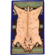 """4 5/8"""" x 7 3/4"""" Antique Dollhouse Tobacco Felt Lynx Animal Print Rug Dark Blue Early 1900s 1"""" Scale"""