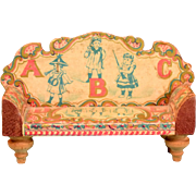 """Antique Bliss Dollhouse Lithographed ABC Sofa 1900s Small 1"""" Scale"""